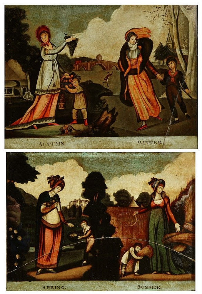 A PAIR OF GEORGE III HAND-COLOURED REVERSE GLASS PRINTS representing Autumn