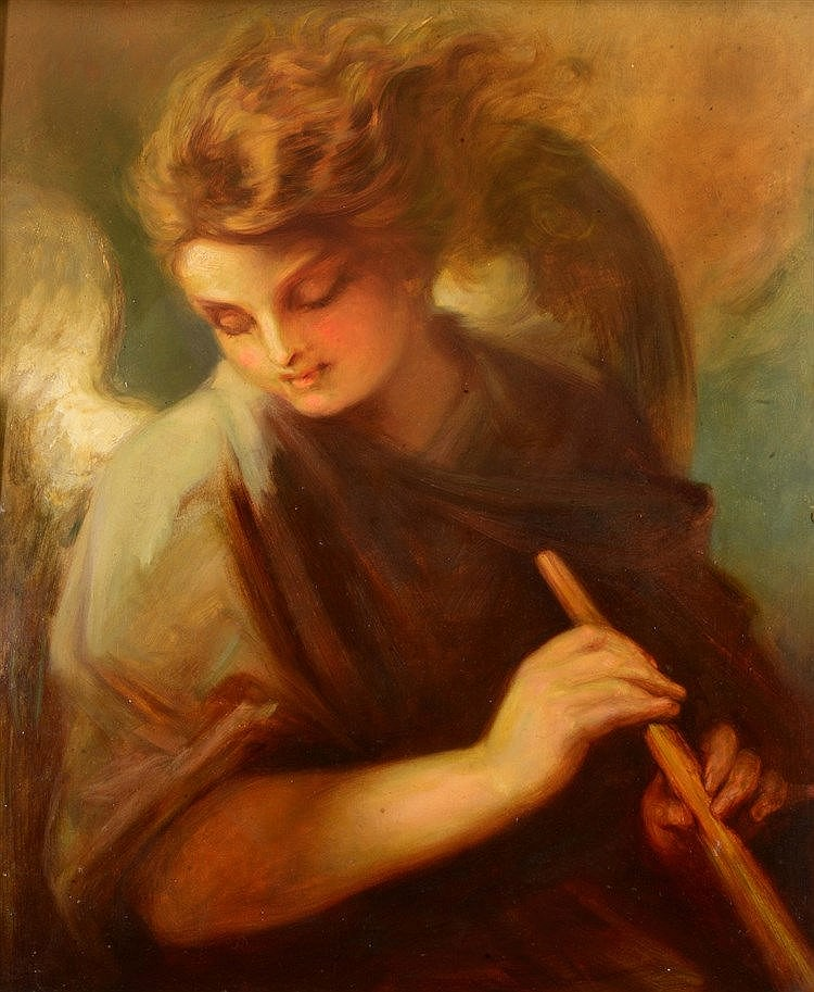 ENGLISH SCHOOL (LATE 19TH CENTURY) An angel, oils on board, 49 x 41cm