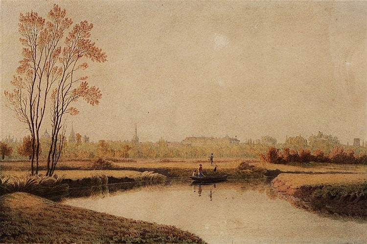 WILLIAM TURNER OF OXFORD (1789-1862) Oxford from the Cherwell, waterc