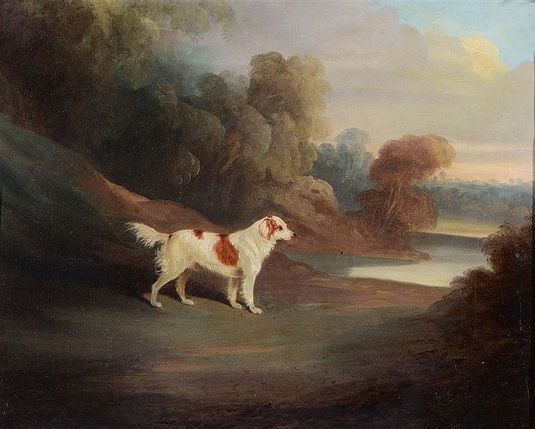 DAVID DALBY (1794-1836) A spaniel in a landscape, signed and dated 183