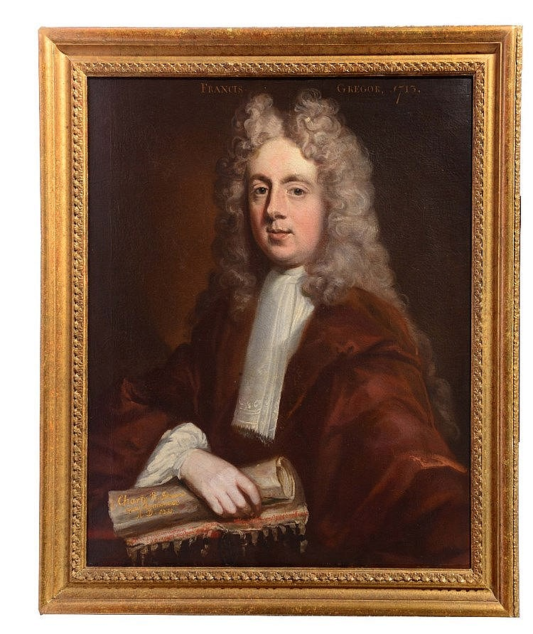 ATTIRUBUTED TO WILLIAM GANDY (c.1655-1729) 'Francis Gregor 1713', oil