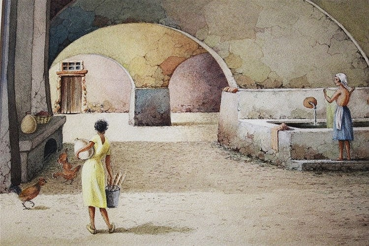 * PRETYMAN A continental arched building with washerwoman and bread co
