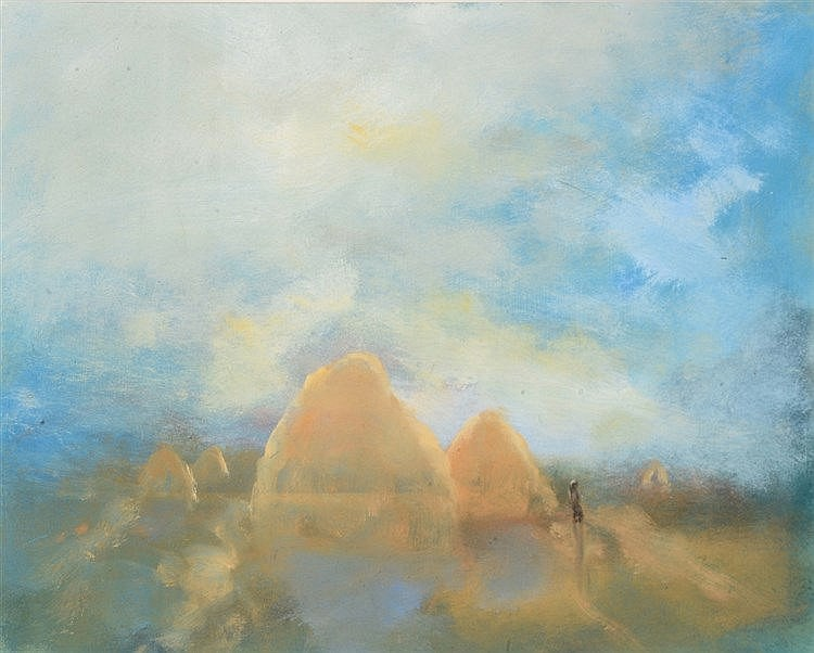 PAUL GANNON (20TH CENTURY) 'Haystacks, Evening', gouache, 28.5 x 37 cm