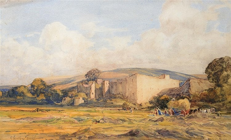 ALEX CARRUTHERS GOULD (1870-1948) Haymaking by a ruined castle, signed