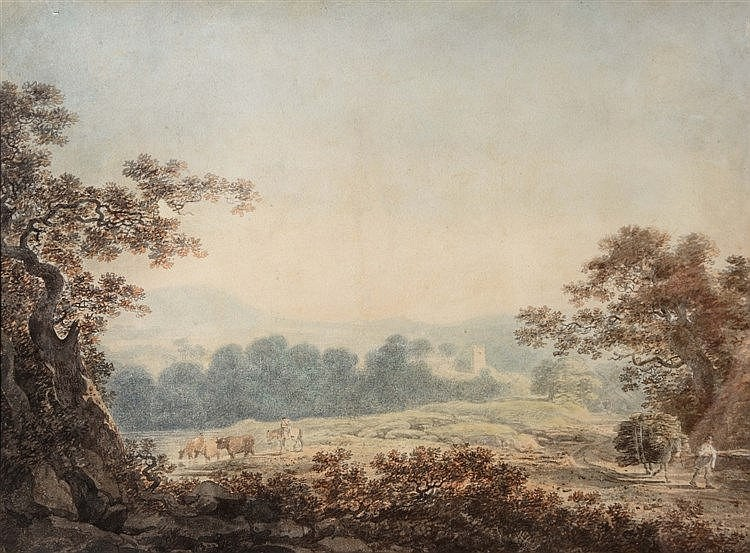 WILLIAM PAYNE (1760-1830) 'On the Coast road to Weymouth', signed, wat