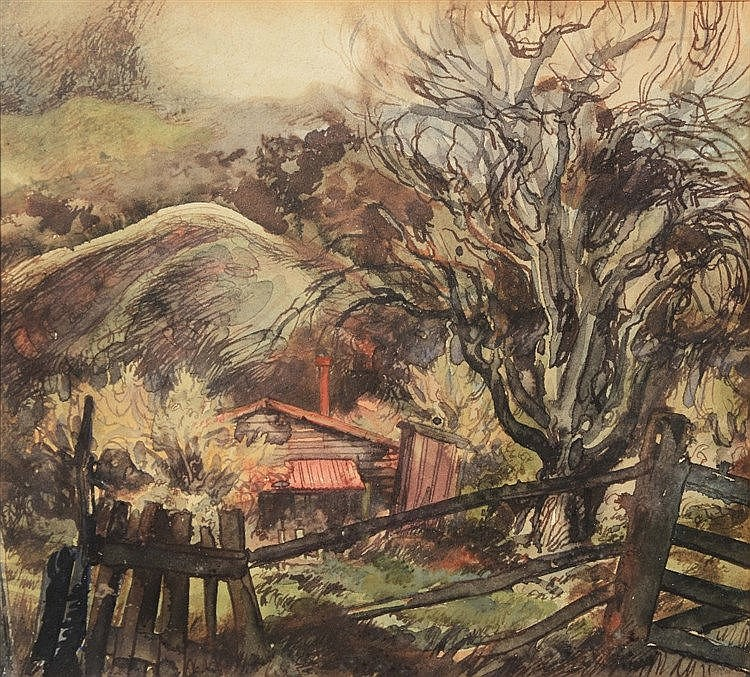 ERIC LEE-JOHNSON (NEW ZEALAND 1908-1993) 'The Old Pear Tree'; ink & wa