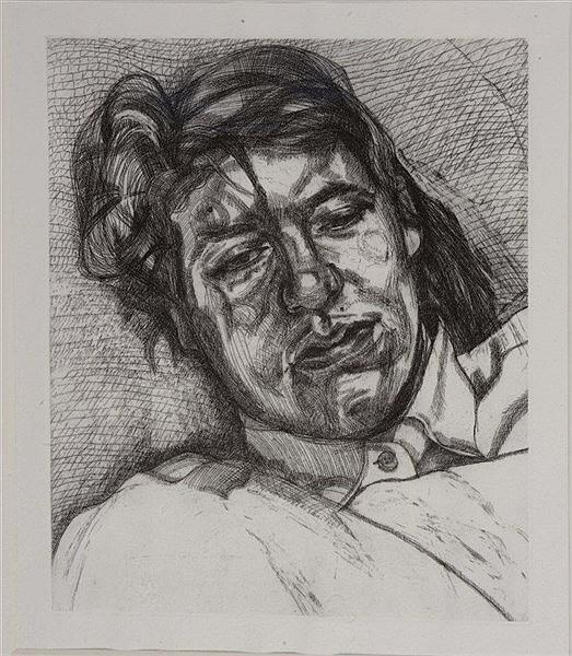 LUCIEN FREUD (1922 - 2011) 'Bella', etching, 19.5 x 16cm (pl)
