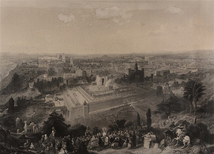 C MOTTRAM AFTER H C SELOUS 'Jerusalem in her Grandeur', monochrome eng