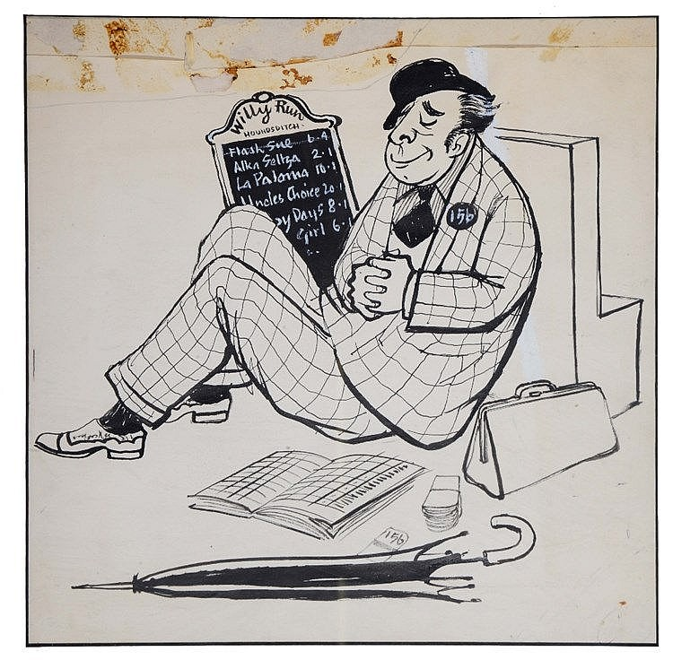 CHARLES MOZLEY (1915 - 1991) 'The Bookie', pen and ink cartoon, 31 x 3