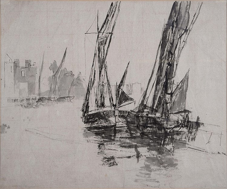WALTER GREAVES (1846-1930) A study for Thames barges - Lindsey Wharf,