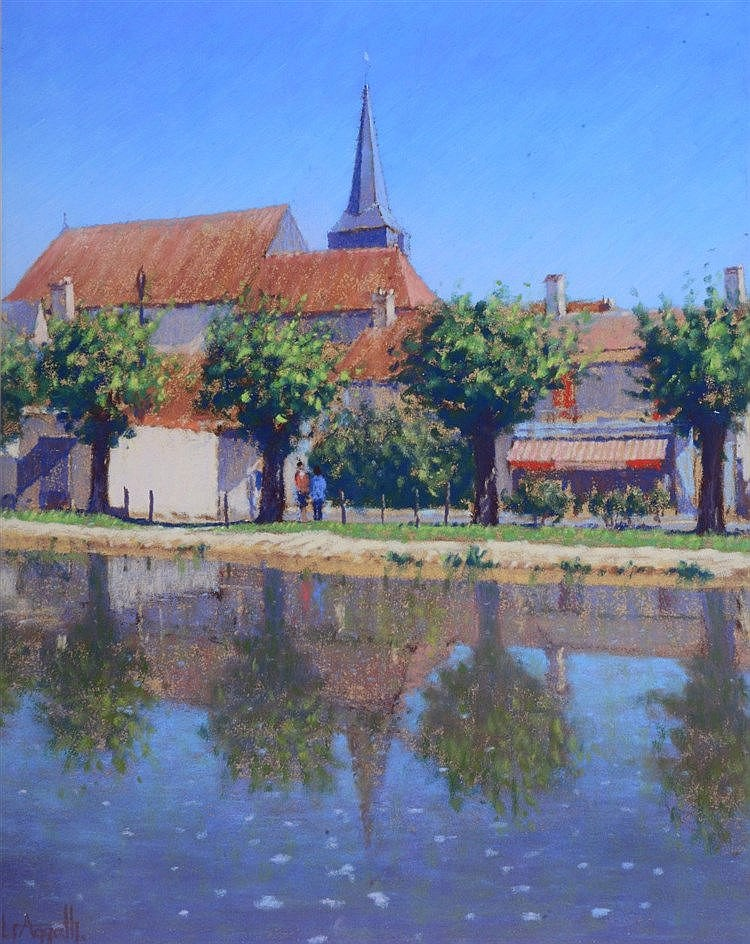 LIONEL AGGETT (1938 - 2009) 'Reflections, Canal Du Berry, Cher', signe