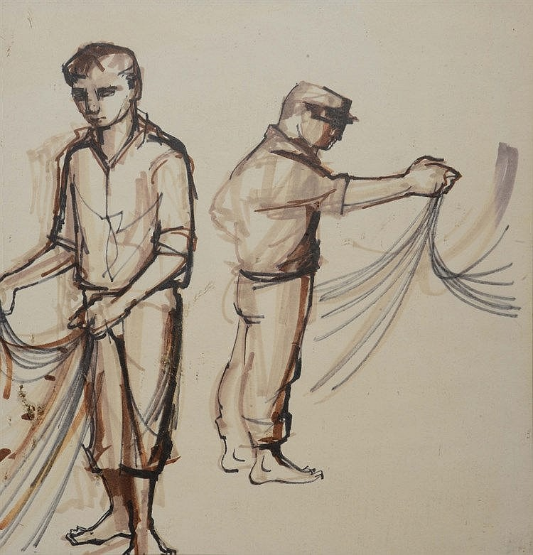 FOLLOWER OF JOSEF HERMAN Two sailors with nets, black and brown inks,