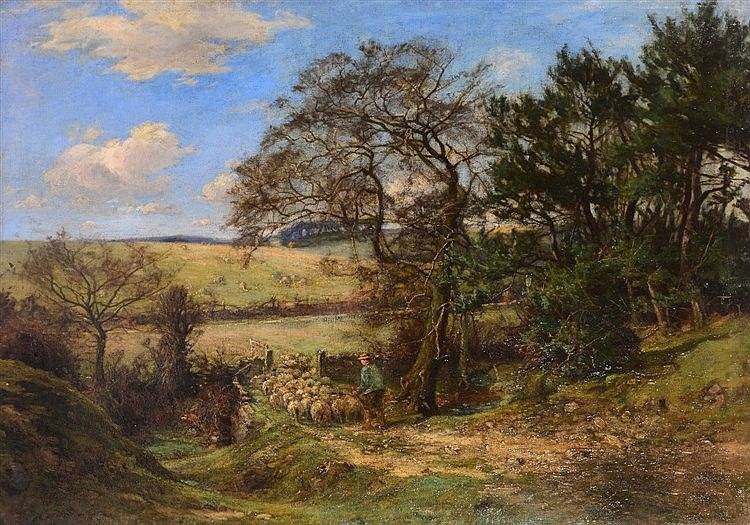 WILLIAM GREAVES (1852 - 1938) A shepherd driving sheep through an open