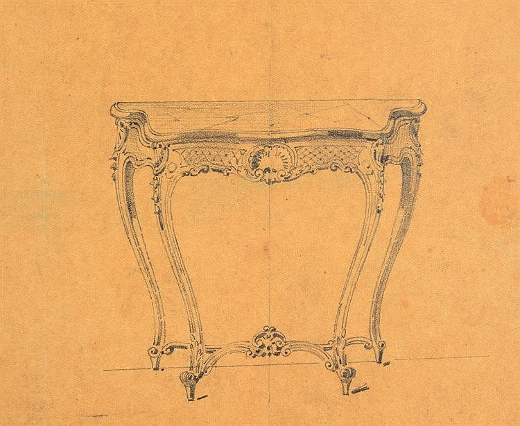 A SMALL COLLECTION OF FRENCH 19TH CENTURY FURNITURE DESIGN SKETCHES, pencil