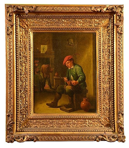 FOLLOWER OF DAVID TENIERS Seated figure with bowl and pipe in a tavern