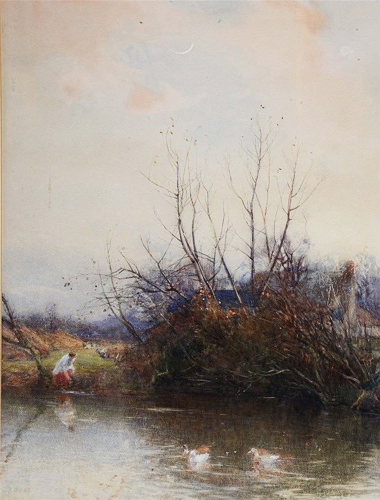 MAX LUDBY (1858 - 1943) 'Cookham Dene', signed and dated 1890, waterco