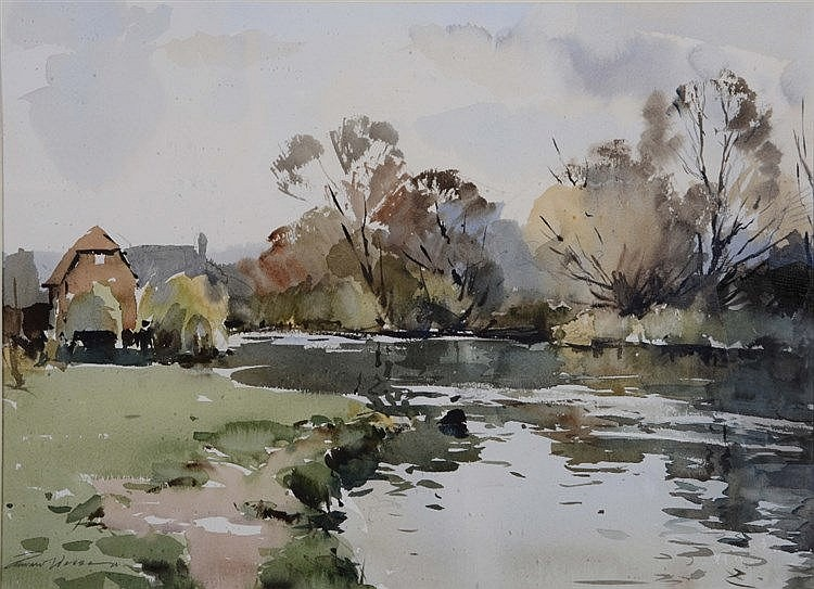 EDWARD WESSON (1910 - 1983) An autumnal river landscape with farm buil
