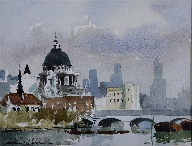 EDWARD WESSON (1910 - 1983) River Thames with St Pauls, signed. waterc