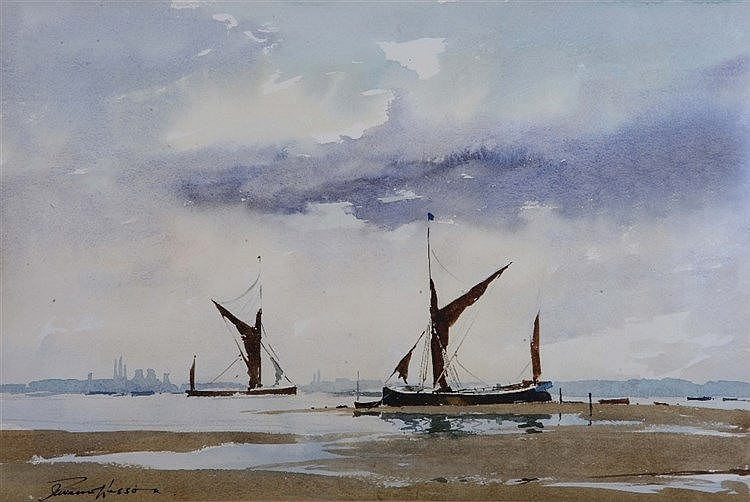 EDWARD WESSON (1910 - 1983) Estuary with barges, probably the Thames,
