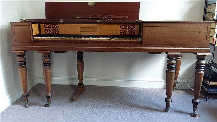 AN EARLY C19TH MAHOGANY & EBONY STRUNG SQUARE PIANO, by John Broadwood