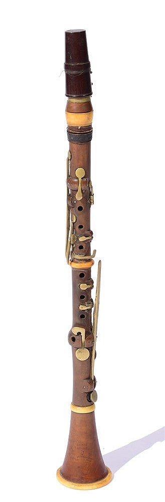 A 19TH CENTURY BOXWOOD AND IVORY-MOUNTED CLARINET Stamped 'Bilton Lond