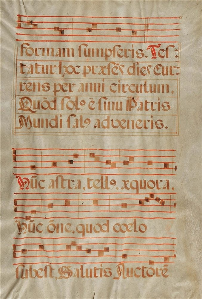 AN ANTIQUE ANTIPHONAL LEAF with four staves of musical notation and Latin v