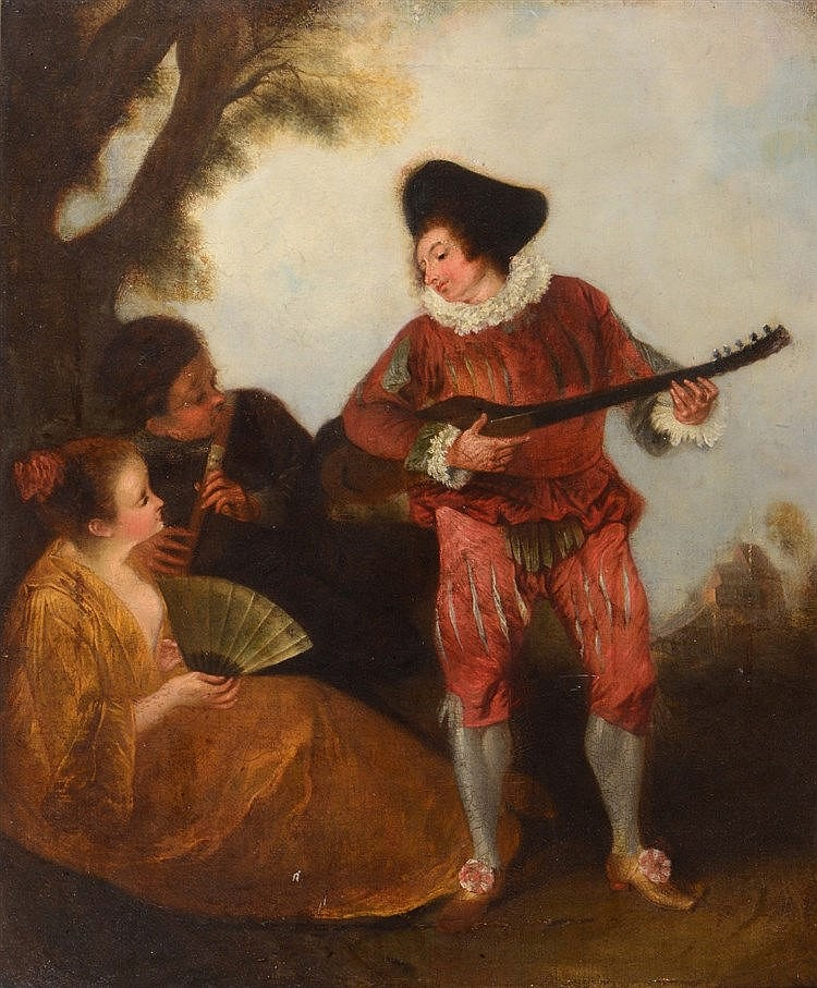 CIRCLE OF JEAN-ANTOINE WATTEAU (1684-1721) The Mandolin player, oils