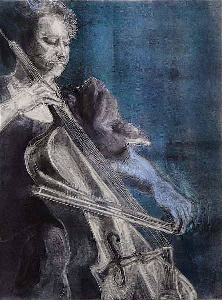 JAMIE J. JAWSON 'My Favorite Strings II' monoprint with watercolour, p