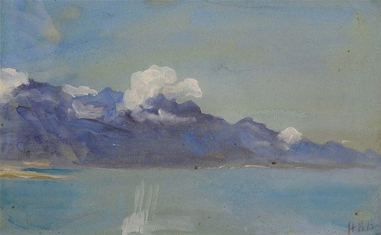 HERCULES BRABAZON BRABAZON (1821-1906) A lake view with mountains, sig