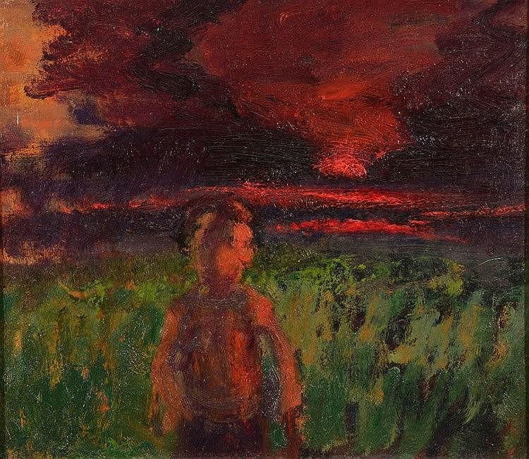 LESZEK MUSZYNSKI (1923-2012) 'Stormy Evening', dated '76, oils on boar