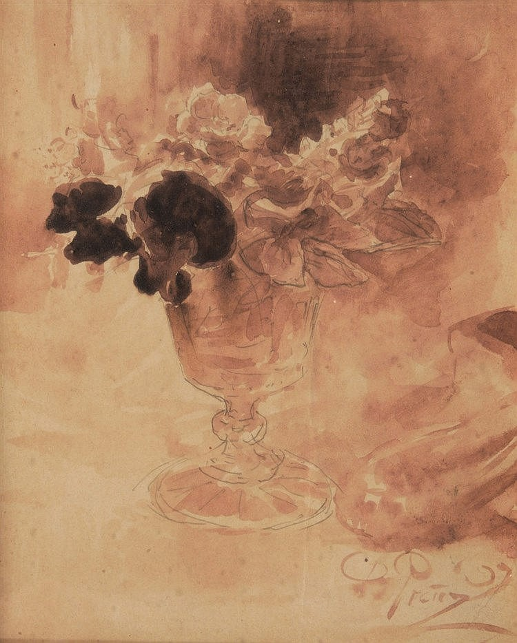 CONTINENTAL SCHOOL Still life - A posy of flowers in glass, indistinct