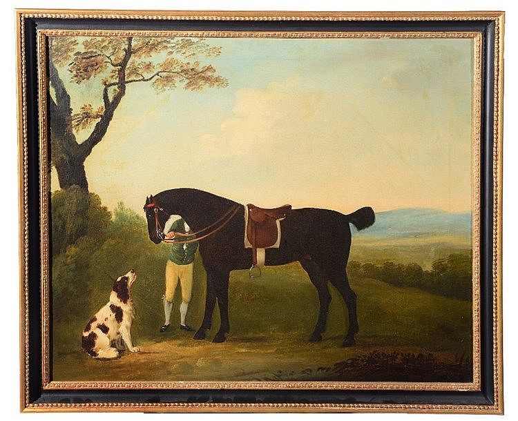 19TH CENTURY ENGLISH SCHOOL A saddled horse in a landscape with rider