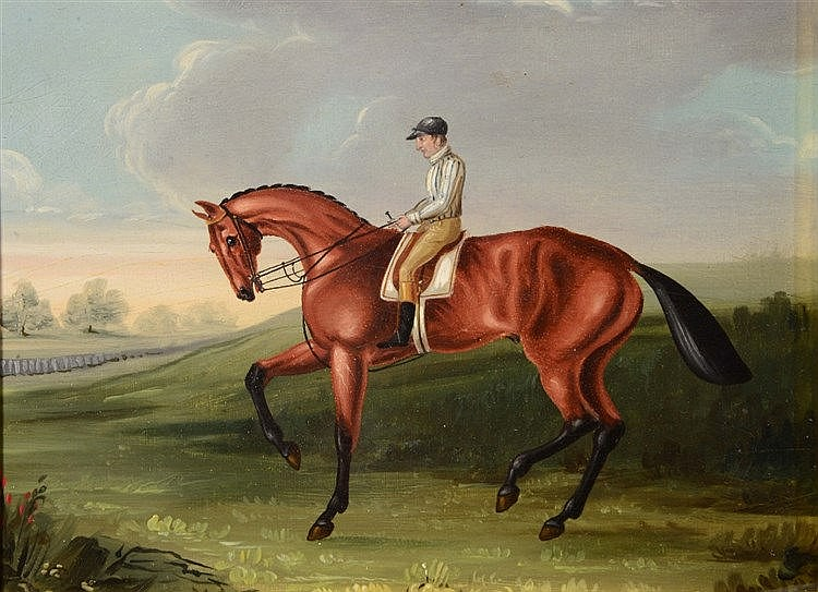 FOLLOWER OF JAMES SEYMOUR A chestnut race horse with jockey up, oils o