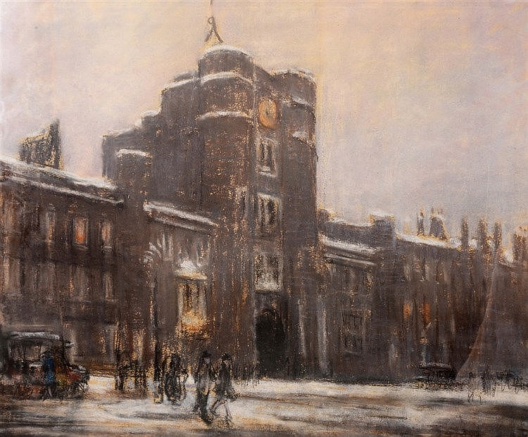 20TH CENTURY SCHOOL A palace or college facade in winter time, pastels