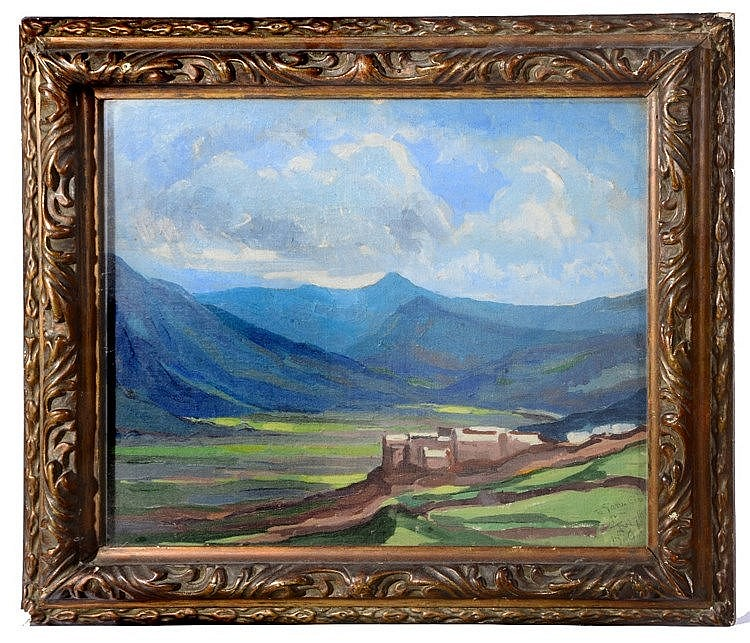 J WYLLIE A mountain landscape, signed, inscribed 'To Gavin Clark' and