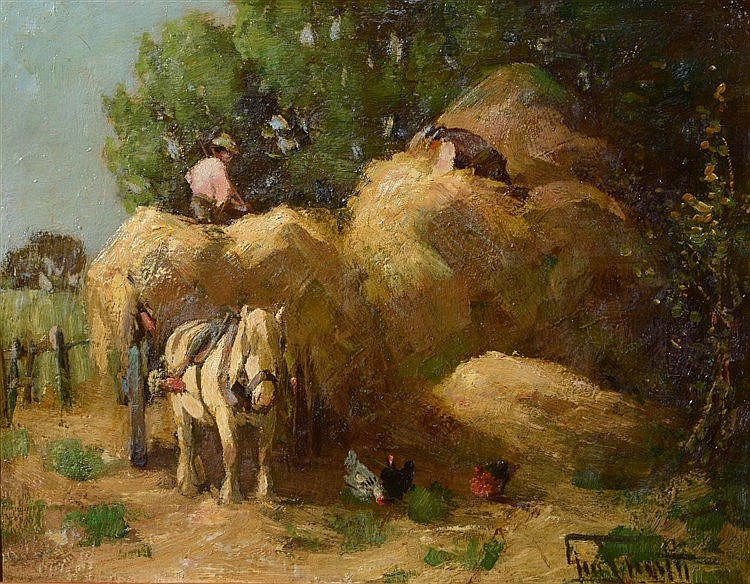 GEORGE SMITH (1870-1934) The harvesters, signed, oil on board, 30 x 38