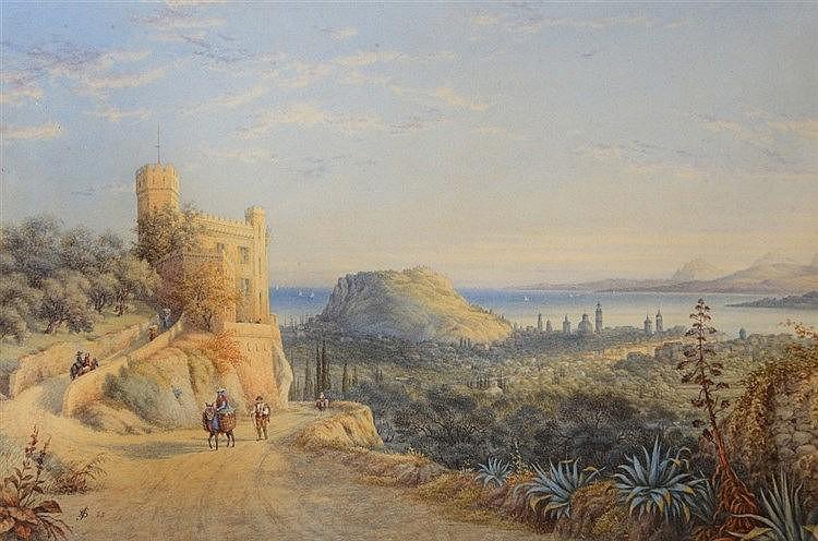 ENGLISH SCHOOL (19TH CENTURY) A mediterranean coastal town, with figur