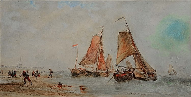 ALFRED HERBERT (fl.1884 - 1860) Coastal scene with Dutch barges, signe