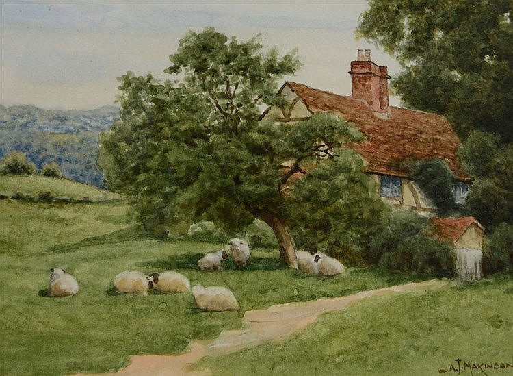 ALISTAIR MAKINSON A shepherd driving sheep on a country road beside a
