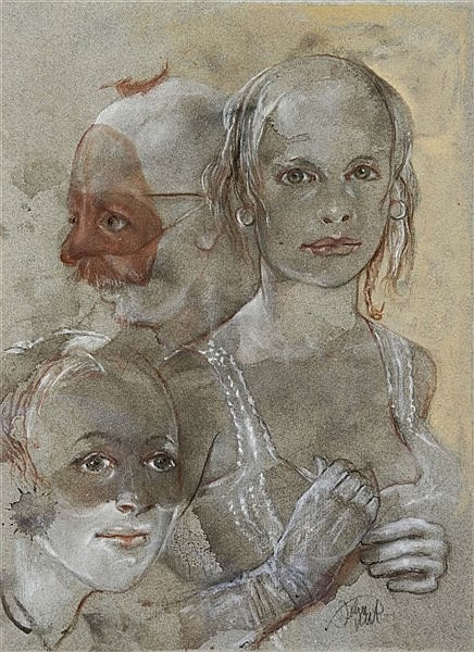 JOHN UHT (b.1924) 'Candida', signed, watercolour and body colour heigh