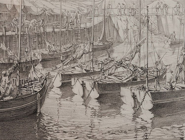 CYRIL LAVENSTEIN (1891 - 1986) 'Men and Boats', signed and dated 1926,