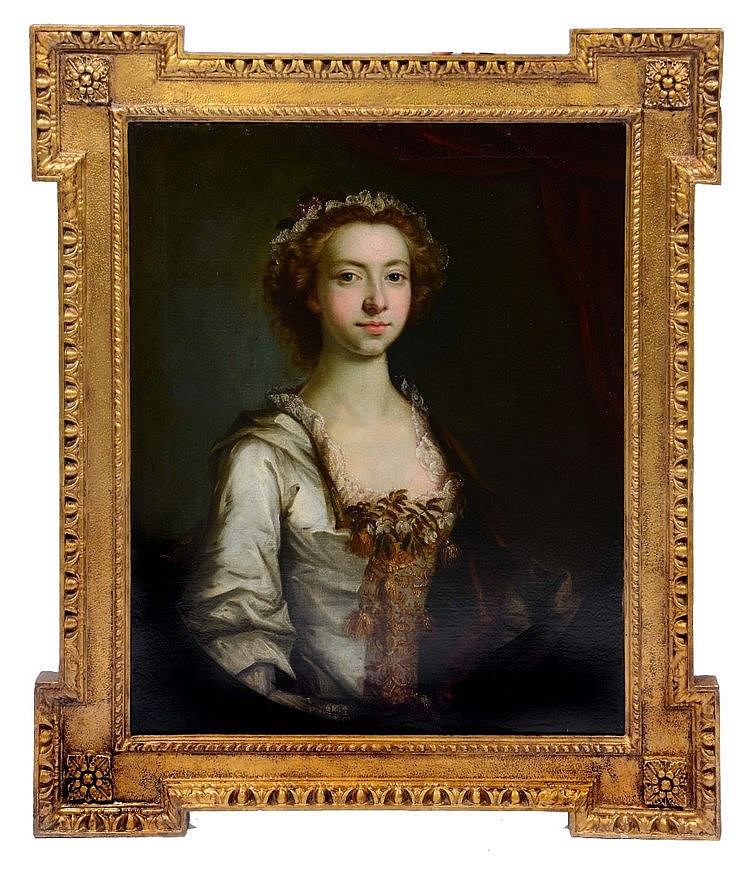 CIRCLE OF THOMAS HUDSON (1701 - 1779) Portrait of a lady with brown cu