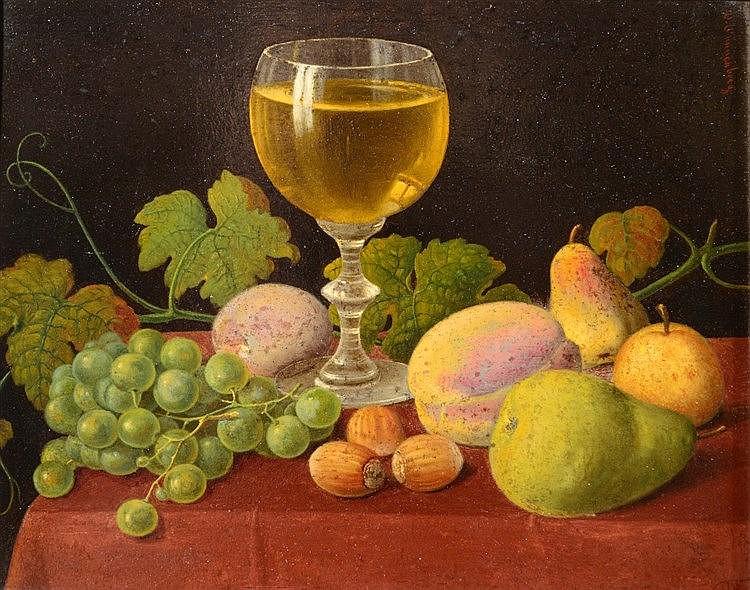 WALDER WUNNENBERG (1818 - c.1900) Still life, a wine goblet, fruit, le