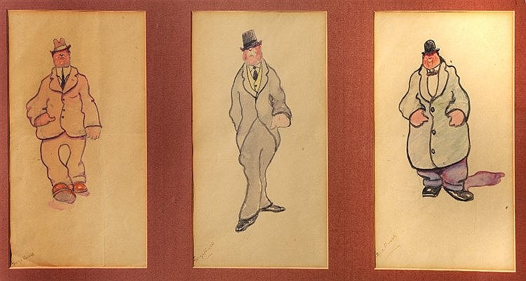 GEORGE BISSILL (1896 - 1973) Caricatures, a group of three, each signe
