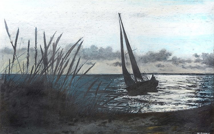 MARY ROOKE (20TH CENTURY) A sailing vessel at dusk, signed, pastel, 51