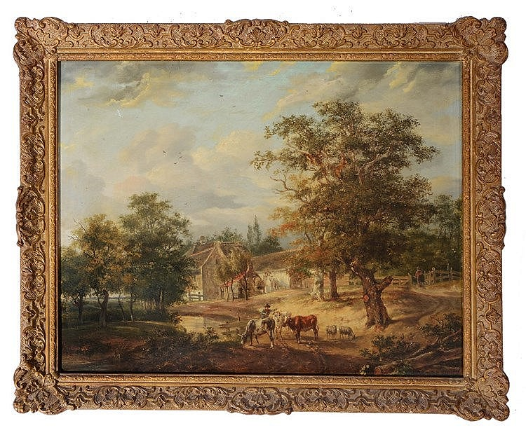 FOLLOWER OF CHARLES TOWNE  A Drover and cattle in a river landscape wi