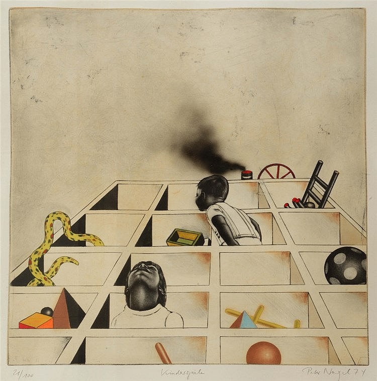 PETER NAGEL (b. 1941) 'Kinderspiele', etching with hand-colouring, pen
