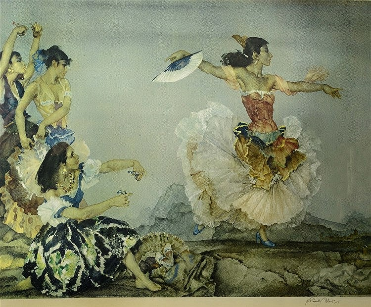AFTER SIR WILLIAM RUSSELL FLINT 'The Danza Montana', print in colours,