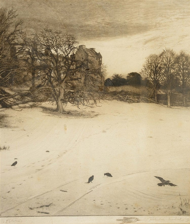 ROBERT WALKER MACBETH (1848-1910) A grand country house at winter time