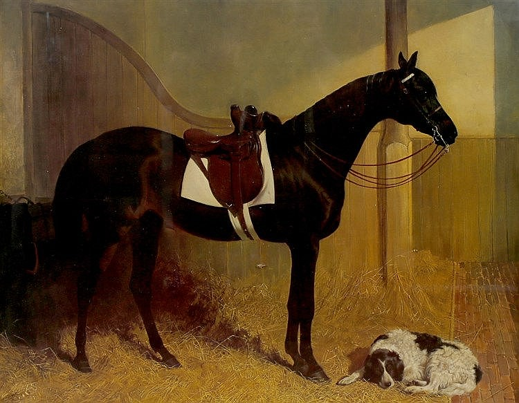 MANNER OF JOHN FREDERICK HERRING A saddled bay horse with spaniel in a